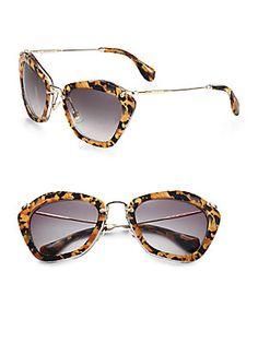Miu+Miu Plastic+&+Metal+Cat's-Eye+Sunglasses