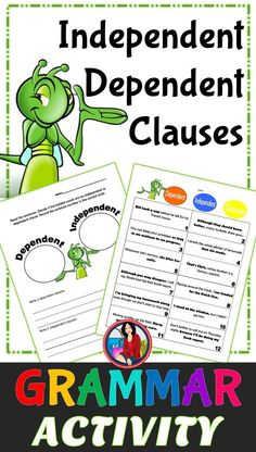 Independent and Dependent Clauses Center Activity for small groups or independent literacy station work during guided reading. Students read a sentence and identify the bold words as a dependent clause or an independent clause.