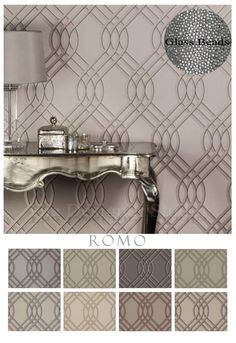 Arioso Luxury Heavyweight Designer Glass Bead Patterned Wallpaper by Romo