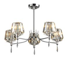 SEL0550 Selina 5 Light Semi Flush in Polished Chrome Crystal Glass Shades and Polished Chrome Frame Earthed 5 x 40w G9 Lamps included Height 40cm Diameter 59cm