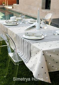Comprar Manteles y Servilletas | Mantelerias baratas | antimanchas - Simetrya Home Dinning Set, Dining, Hobbies And Crafts, Diy And Crafts, Burlap Table Runners, Vintage Tablecloths, Table Covers, Dinner Table, Table Linens
