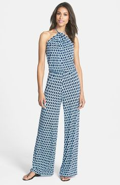 Free shipping and returns on Tart 'Gail' Print Jersey Halter Jumpsuit at Nordstrom.com. An ikat diamond pattern casts mesmerizing dimension over a fluid, wide-leg jersey jumpsuit flaunting a shoulder-baring bodice that's smartly twisted through a braided halter neckline.