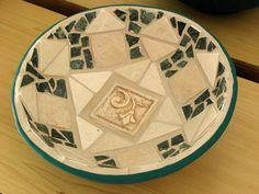 The big Green bowl - ceramic, with stone and tiles.