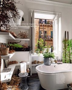 Bathroom Living Spaces, Image Source shelterness.com  big frosted window, open shelving, dark tile floors mimicking wood, plants