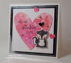 Stinkin' Cute Watercolor by basement stamper - Cards and Paper Crafts at Splitcoaststampers Valentines Greetings, Valentine Day Cards, Valentine Ideas, Lawn Fawn Blog, Lawn Fawn Stamps, Animal Cards, Love Cards, Creative Cards, Homemade Cards