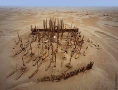One of the burial mounds of the Tarim Basin  mummies, 1800BCE to 200AD, Xinjiang, China