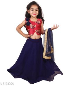 Lehenga Cholis  Trendy Kid's Girl's Lehenga Choli  Fabric: Lehanga - Georgette, Choli - Borcade , Dupatta -Net , Inner - Raw Silk  Sleeves: Sleeves Are Included  Size: (Age Group 6-12 Months)- Bust -18 in ,TOP Length-10 in ,Bottom Length-18 in ,Dupatta Length-1 Mtr (Age Group 2-3 Year)-Bust -19 in,TOP Length-11 in,Bottom Length-20 in,Dupatta Length-1.1 Mtr (Age Group 3-4 Year)-Bust-20 in,TOP Length-11.5 in,Bottom Length-23 in,Dupatta Length-1.2 Mtr (Age Group 4-5 Year)-Bust-22 in,TOP Length-12 in,Bottom Length-25 in,Dupatta Length-1.3 Mtr (Age Group 5-6 Year)-BUST-23 in,TOP Length-12.5 in,Bottom Length-26 in,Dupatta Length-1.4 Mtr (Age Group 6-7 Year)-Bust-24 in,TOP Length-13 in,Bottom Length-27 in Dupatta Length-1.5 Mtr (Age Group 7-8 Year)-Bust-25 in,TOP Length-13.5 in,Bottom Length-28 in,Dupatta Length-1.6 Mtr (Age Group 8-9 Year)-Bust-26 in,TOP Length-14 inch,Bottom Length-29 in,Dupatta Length-1.7 Mtr Type: Stitched Description: It Has 1 Piece Of Kid's Girl's Lehenga ,1 Piece Of Kid's Girl's Choli & 1 Piece Of Dupatta  Work: Lehenga - Border Work , Choli -  Embroidered, Dupatta - Lace Border Sizes Available: 6-9 Months, 6-12 Months, 9-12 Months, 12-18 Months, 18-24 Months, 1-2 Years, 2-3 Years, 3-4 Years, 4-5 Years, 5-6 Years, 6-7 Years, 7-8 Years, 8-9 Years, 9-10 Years   Catalog Rating: ★4 (487)  Catalog Name: Doodle Trendy Kid's Girl's Lehenga Choli Vol 4 CatalogID_756863 C61-SC1137 Code: 063-5128206-978