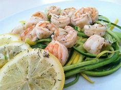Lemon, garlic and basil shrimp on a bed of zucchini