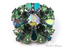 Vintage Signed SCHIAPARELLI Shades Of Green Rhinestone & AB BROOCH