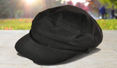 Black Captains Hat with Braid Detail