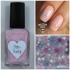 atlcatsmeow #lynnderella LE Star Baby has an blue- and pink-shimmered opaline cool pink translucent base with tiny silver holographic, periwinkle, pink and pink jelly stars. Shown over #sephorax Alive #lovelynnderella