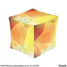 Pouf with Low poly modern art Cube Pouf