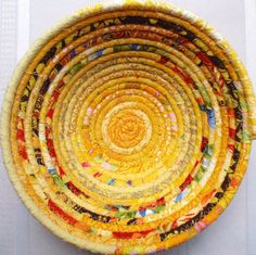 Coiled Fabric Basket - Yellow Gypsy. $20.00, via Etsy.  I love this artist, her colors are wonderful.