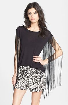 Madison & Berkeley Fringe Sleeve Tee available at #Nordstrom - so pretty but i'd be afraid of destroying the fringe unless i was at a very foofy cocktail party or something.