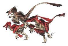 Velociraptor Pack by Herschel-Hoffmeyer on deviantART Feathered Dinosaurs, Apex Predator, Creature Drawings, Spinosaurus, Jurassic Park World, Red Feather, Dinosaur Art, Expressive Art, Tyrannosaurus Rex