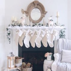 Heading out to the today for more holiday family fun! Meanwhile at home the stockings were hung by the chimney with care.Christmas mantle done in white . Family Holiday, Beautiful Christmas, Mantle, Wardrobe Rack, Stockings, Fun, Furniture, Home Decor, Socks