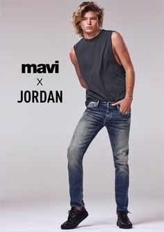 Sporting distressed denim, Jordan Barrett stars in Mavi's spring-summer 2018 campaign.