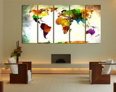 monde carte murale art impression sur toile art mural
