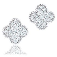 18k White Gold Plated Cubic Zirconia Four Leaf Clover Stud Earrings