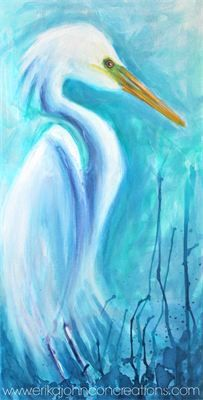 white heron : acrylic on canvas -egret-white bird-bird art-fine art-American Artist-Bayou birds-www.erikajohnsoncreations.com