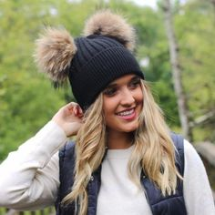 Made with the softest angora knit you will find, these adorable double (genuine) fur pom beanies are going to be the talk of the town. Poms are removable. Fur Bobble Hat, Knit Beanie, Fur Pom Pom Hat, Ear Warmers, Robin, Sewing Crafts, Scarves, Winter Hats, Crochet Hats