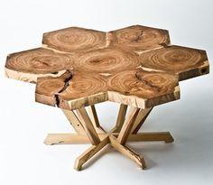 Custom coffee table is made of American Elm                                                      Designed by Sean Springer