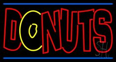 Double Stroke Donuts Neon Sign 20 Tall x 37 Wide x 3 Deep, is 100% Handcrafted with Real Glass Tube Neon Sign. !!! Made in USA !!!  Colors on the sign are Red, Yellow and Blue. Double Stroke Donuts Neon Sign is high impact, eye catching, real glass tube neon sign. This characteristic glow can attract customers like nothing else, virtually burning your identity into the minds of potential and future customers.