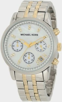 #Michael #Kors #MK5057 #Two-Tone #Chronograph #with #Stones #Watch