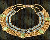 lrg Egyptian  bedead  Queen Cleopatra Necklace 7 Scarab halloween. $8,00, via Etsy.