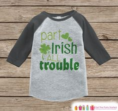 St Patricks Day Kids Outfit - Grey Raglan Shirt - Boys Funny Irish Onepiece - St Patricks T-shirt for Baby Boys - Funny Humorous Raglan Tee