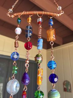 Wind Chime and Suncatcher with Copper and Glass by LTreatDesigns