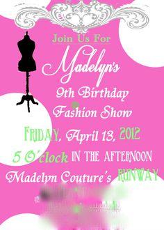 Fashion Birthday Party Invitation by SunsetAnalog on Etsy 700
