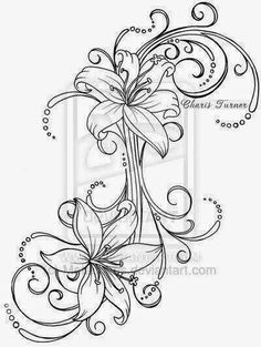 Lily Tattoo by Metacharis on DeviantArt - I could totally use this to connect my shoulder and lower back tattoo! Cover Up Tattoos, Tattoo Drawings, Body Art Tattoos, New Tattoos, Tribal Tattoos, Cool Tattoos, Tattoo Hip, Spine Tattoos, Symbol Tattoos