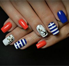 - All For Hair Color Trending Anchor Nail Designs, Nautical Nail Designs, Nautical Nail Art, Beach Nail Designs, Toe Nail Designs, Acrylic Nail Designs, Anchor Nails, Aztec Nails, Chevron Nails