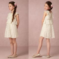 2017 New Flower Girls Dresses Baby Tiers Ruffles Cute Lace Square Neck Bow Cap Sleeves Cheap Lovely Short Kids Summer Gowns Casual Dresses Flower Girls Dress Girl Dress Shoes From Faithfully, $83.42| Dhgate.Com