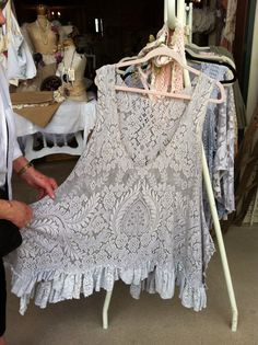 I saw this tunic made from a vintage table cloth at Canton today. LOVED it but they were asking $125