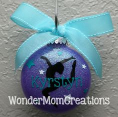 This listing is for a personalized gymnastics ornament with or without an inside glitter finish. The ornaments are made to order and can be