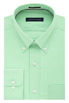 Tommy Hilfiger Men's Non Iron Regular Fit Gingham Buttondown Collar Dress Shirt Review