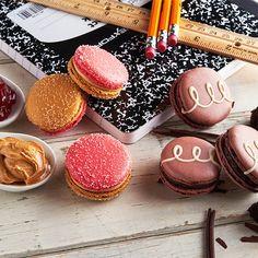 Chocolate Cupcake and PB&J macarons for Back to School!