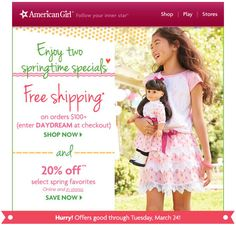American Girl Coupon Codes & Promo Codes – With United States Lady discount coupons, it's effortless to save money while building a small girl's desire becoming reality. A lon…