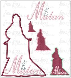 """Moolan Princess Full Body Silhouette and Name TWO Design SET Machine Applique Embroidery Design, Multiple sizes 1.5""""-16"""""""