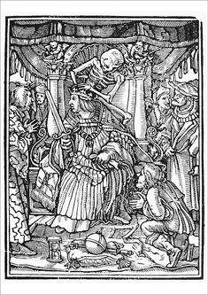 """An A1 poster sized print, approx 23""""x33"""" (841x594mm). DANCE OF DEATH, 1538.   Death and the Emperor. Woodcut, French, 1547, after Hans Holbein the Younger from his Dance of Death, published in 1538. 1538, 1547, allegory, court, crown, dance of death, death, globus cruciger, hans, holbein, holy roman emperor, hourglass, kneel, medieval, orb, personification, renaissance, robe, royal, seated, skeleton, sword, throne, woodcut, younger. Image supplied by Granger Art on Demand. Product… Photo Wall Art, Framed Prints, Hans Holbein The Younger, Dance Of Death, Canvas Prints, Poster Prints, Art, Fine Art Prints, Woodcut"""