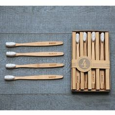 izola 804 bamboo 'guest' toothbrush set of 4 | amazon $11.99