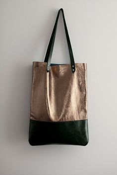 Brass Metallic with Dark Green Leather Tote bag No. TL- 3001