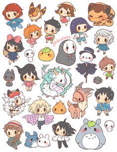 Cartoon Drawings Studio Ghibli themed sticker set ~ ☆ 1 - each☆ includes 26 pre-cut stickers printed on *NEW* LD glossy sticker paper - Studio Ghibli themed sticker set ~ ☆ 1 - each☆ includes 26 pre-cut stickers printed on *NEW* LD glossy sticker paper Kawaii Doodles, Kawaii Art, Kawaii Chibi, Cute Animal Drawings Kawaii, Cute Drawings, Cute Kawaii Animals, Chibi Anime, Anime Naruto, Studio Ghibli Art