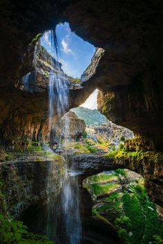 Waterfalls around the world > beautiful places! This one is Baatara Gorge Falls, Lebanon.