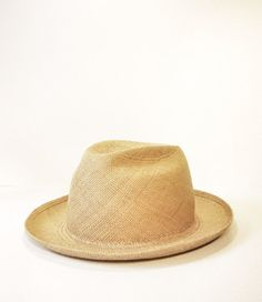 Modern Fedora w/ up turned brim- Cork colored woven panama straw *** Free shipping***