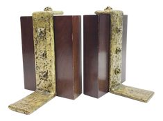 Vintage Brutalist Wood and Brass Bookends - A Pair on Chairish.com