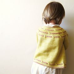 Bella. An appropriate name for this child's cardigan knit from the top down in one piece.