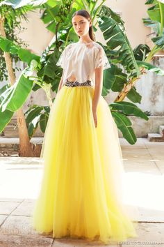 christos costarellos bridal 2015 br15 23 wedding dress illusion sleeve top yellow tulle ball gown skirt